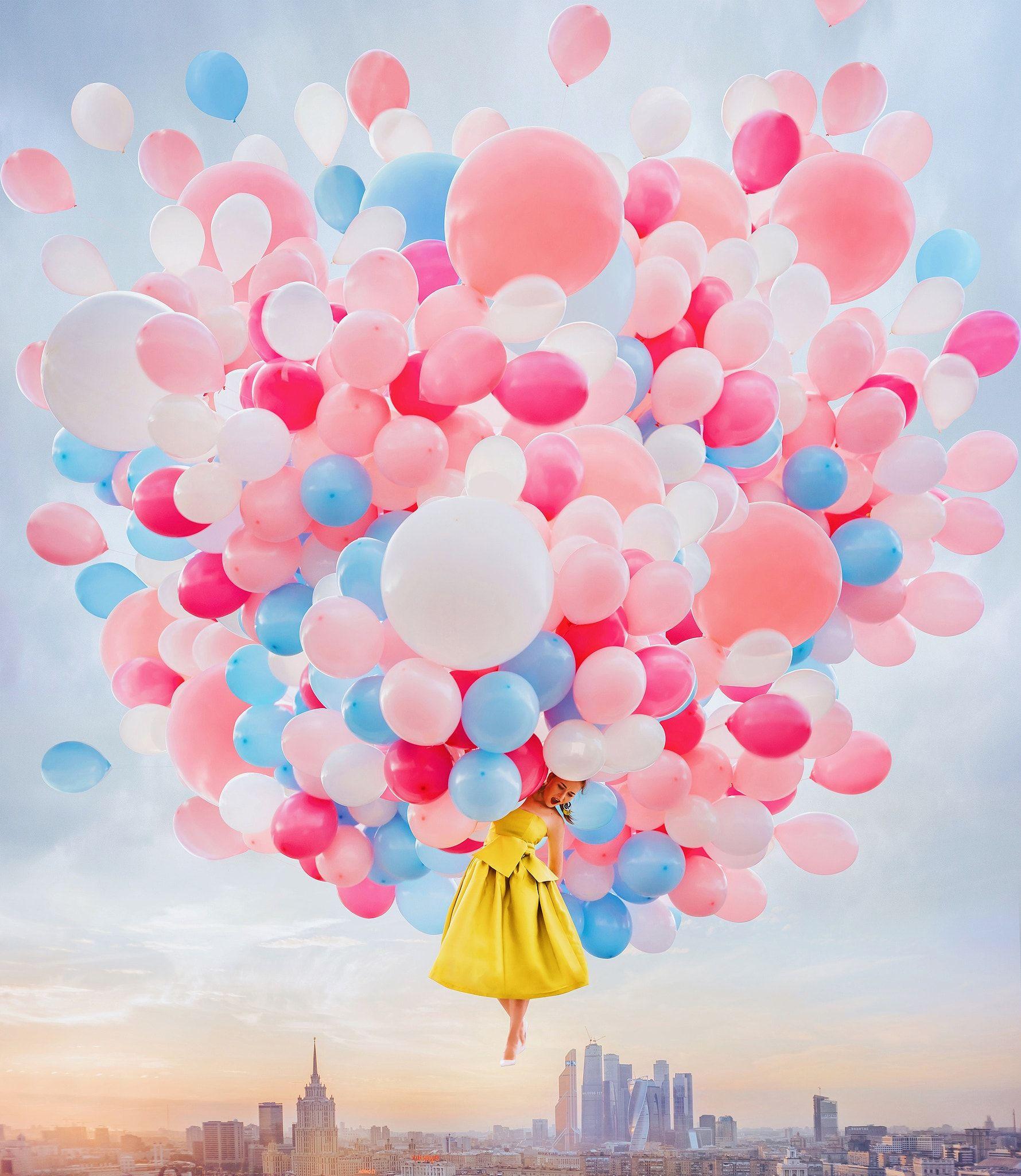 Открытка с шариками и цветами, лучшая