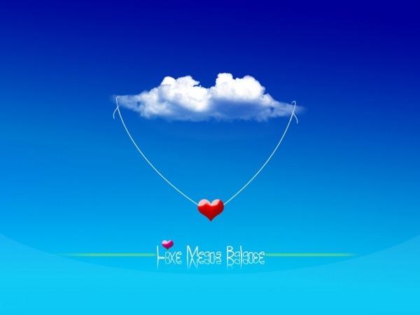 Обои о любви: Сердце в облаках