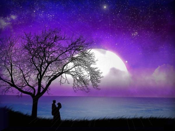 Обои о любви: Двое и лунная ночь