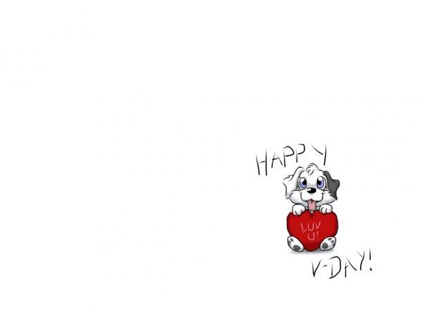 Обои о любви: Собачка с сердцем