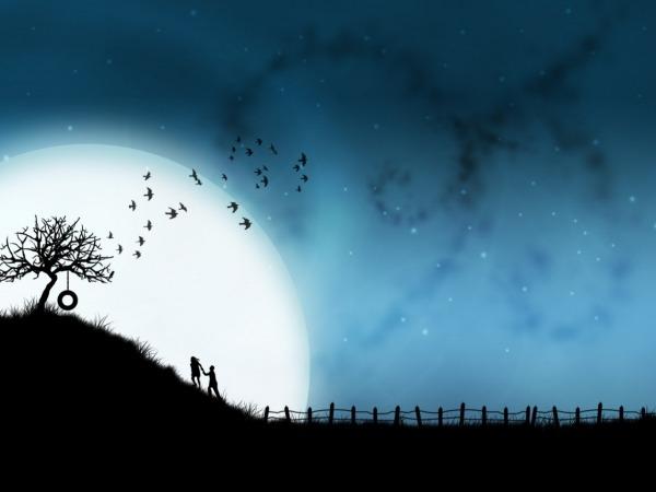 Обои о любви: Лунная ночь