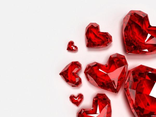 Обои о любви: Сердечки из стекла