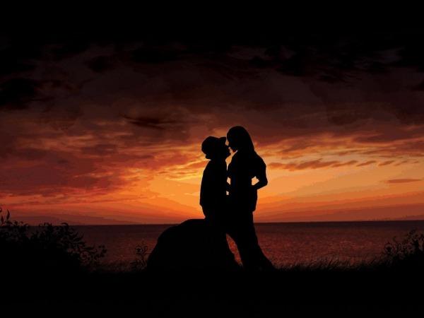 Обои о любви: Влюбленные на закате