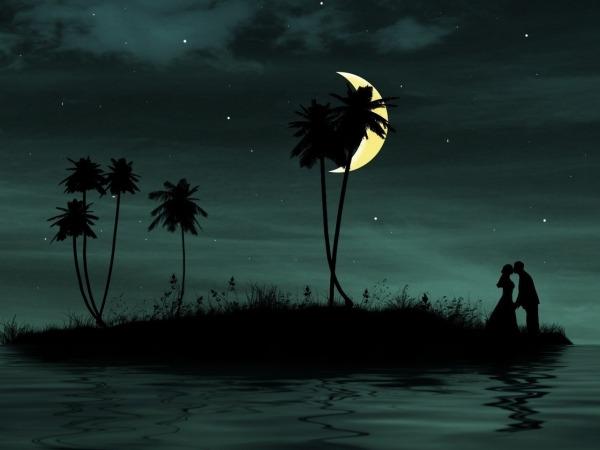 Обои о любви: Лунная ночь на берегу реки