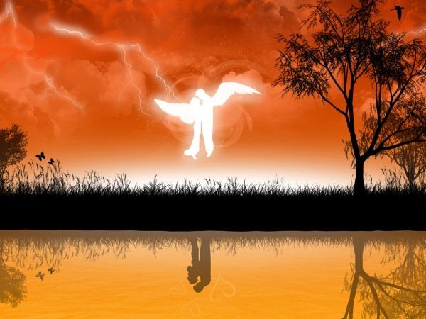 Обои о любви: Влюбленные ангелы