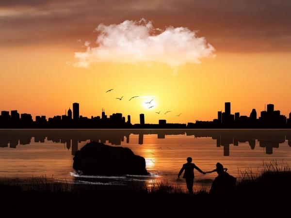 Обои о любви: Влюблённые на закате