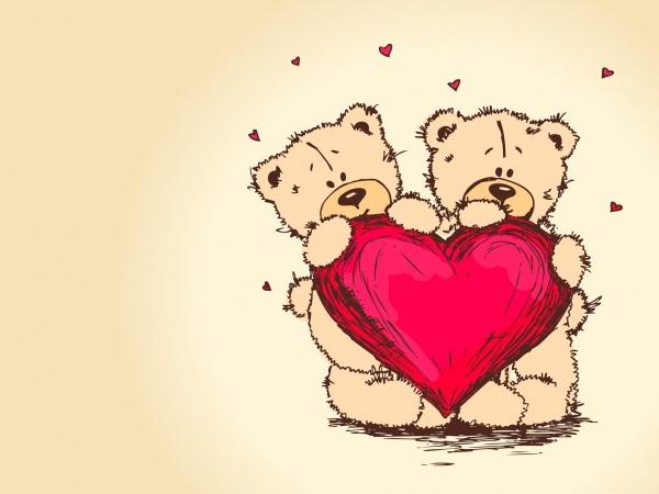 Обои о любви: Влюбленные мишки