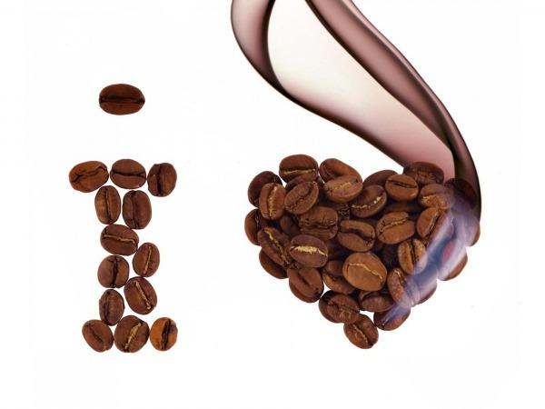 Обои о любви: Сердце из кофейных зерен