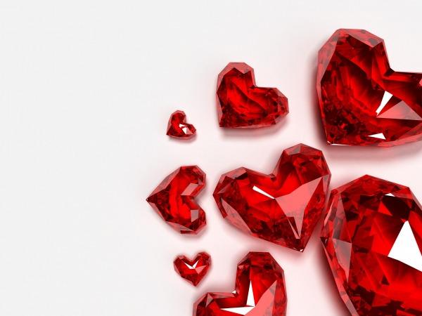 Обои о любви: Хрустальные сердечки