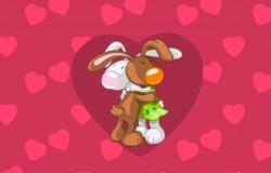 Обои о любви: Влюблённые зайки