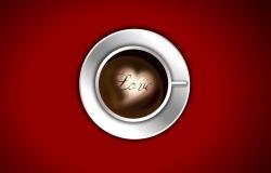 Обои о любви: Сердце кофе