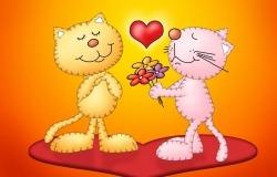 Обои о любви: Влюблённые коты