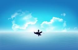 Обои о любви: Лодка в океане любви
