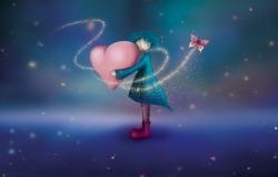 Обои о любви: Кукла с сердцем