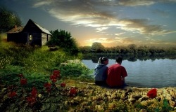 Обои о любви: Двое на берегу реки