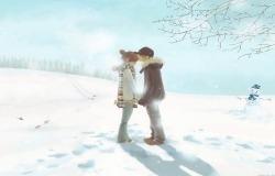 Обои о любви: Зимний поцелуй