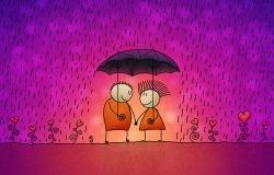 Обои о любви: Двое под зонтиком