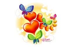 Обои о любви: Сердечки и бабочки