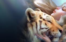 Обои о любви: Девушка в объятиях тигра