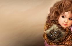 Обои о любви: Девочка с котёнком