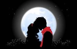 Обои о любви: Поцелуй при луне