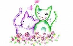 Обои о любви: Влюбленные котята