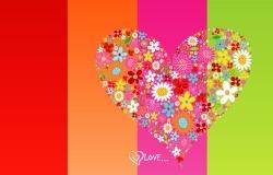 Обои о любви: Сердце из цветов