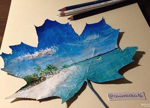 Картины на осенних листьях