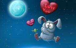 Обои о любви: Влюблённый заяц